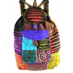 Nepalese Cotton Backpack Brightly decorated Cotton Backpack with a combination of embroidery applique  fretworkThis backpack has a drawstring at the top with a flap secured by a coconut shell button 1 pocket with a matching coconut shell button  flap The 2 . Please Click the image for more information.