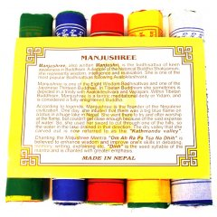 Tibetan Prayer Flags Manjushree Wisdom & Intelligence Mantra 5 Rolls/50 Flags 5 rolls of 100 Cotton flags depicting the Manjushree MantraEach roll has 10 flags on a string to be hung horizontally5 Colours  2 x yellow 2 x white 2 x red 2 x green  2 x blue1 x Flag measures approximately 24 x 20 cm1 x StringRoll measures approximately 220 cmBuddhist belief is strong in the power of these sacred flags The colours of a p. Please Click the image for more information.
