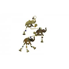 Wind Chime/Hanging - Brass Elephants with Beads and Bells - Strength & Wisdom Wind ChimeHanging  3 x Brass Elephants 5 Brass bells  coloured beads This lovely chime features the elephant which is a universal symbol of strengthwisdom dignity and good judgement It also . Please Click the image for more information.