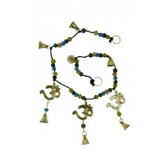 Wind Chime/Hanging Toran Brass Om Symbols, Bells & Glass Beads Feng Shui, Hippy This lovely Toran Wind Chime has 3 Brass Om Symbols attached to strong Black Cotton twine and decorated with colourful Glass Beads and tiny Brass Bells to be hung horizontally over a doorway on a wall or on a verandaO. Please Click the image for more information.