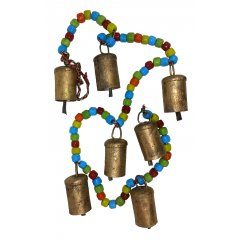 Chime/Hanging 7 Cow Bells with Coloured Beads, Positive Energy & Prosperity String of 7 Small Cow Bells made of thin weathered metal painted gold each with a metal donger The bells are knotted onto a plaited string of red green yellow black and white thread and the string is then further decorated with coloured beads  Thes. Please Click the image for more information.
