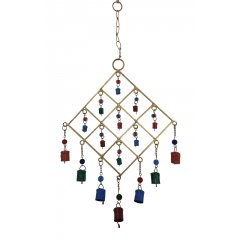 """SALE"" Gold Metal Wind Chime Coloured Cow Bells & Glass Beads, Feng Shui, Hippy Wind Chime made of Gold painted metal with decorative glass beads and small painted metal bells Add Love and positive Feng Shui energies to your home . Please Click the image for more information."