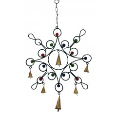 Flower Wind Chime with Glass Beads & Metal Bells, Black Metal, Feng Shui, Hippy Flower shape Wind Chime made of Black Metal with decorative glass beads and small metal bells Add Love and positive Feng Shui energies to your home . Please Click the image for more information.