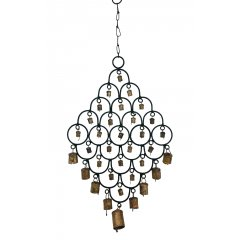 """SALE"" Ornate Wind Chime with Cow Bells , Black Metal, Feng Shui, Hippy Ornate Wind Chime made of Black Metal with a variety of different sized metal cow bells  Release the sound of bells tinkling to add positive Feng Shui energies inside the home or outside on a verandaLe. Please Click the image for more information."