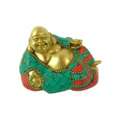 Happy Man Laughing Bronze Mosaic Buddha Statue   This statue of Happy Man laughing Buddha has his clothing and the base he is lying on accented with richly coloured mosaic work in red and turquoise. Please Click the image for more information.