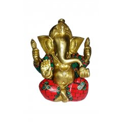 Bronze Hindu Ganesha Statue with Stone Mosaic Study, Wisdom & Wealth 12cmH/990g This Ganesha is part of a range of Traditional Bronze statues symbolizing the beauty magnificence and charm of Indian heritage Ex. Please Click the image for more information.