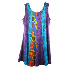 Cotton Lycra Casual Shift Dress Boho Hippy Vertical Patchwork Paneling S - XL Stretch CottonLycra Shift DressThis great Summer dress is colourful and cool  The front and back has Vertical panels of fabric  a strengthening bias backed neckline  and armholes The se. Please Click the image for more information.