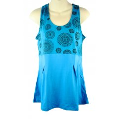 Cotton Lycra Casual Pleated Tank Top Empire Line Boho Hippy Chakra Print S - XXL Sleeveless Casual Stretch CottonLycra TopThis comfortable cool summer top has a Empire Line Yoke front  back printed with Chakra Symbols The Front. Please Click the image for more information.