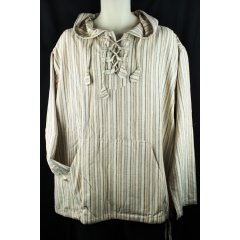 100% Cotton Stripe Indian Shirt w Hood, Pirate, Hippy, Boho, Lacing, Long Sleeve 100 Cotton Stripe Unisex Long Sleeve Shirt with Hood and Doubled Sided Front Pocket Front Panel with Fabric TabsLacing  Drawstring Hem  This is a loose fitting style larger than a normal shirtMedium w. Please Click the image for more information.