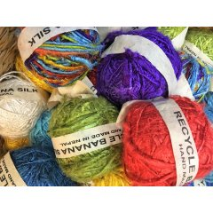 Banana Silk Yarn Hand Spun in Nepal 200 g Balls 9 Colours Banana Silk Yarn has a similar appearance to Recycled Silk Yarn the difference being the viscose fibre content in Banana Yarns . Please Click the image for more information.