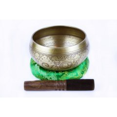 Singing Bowl/Stick/Cushion Machine Made with Auspicious Symbols - 380-480g  Machine Made Singing Bowl 5 metals cushion  stick  Made in NepalWeight  380480 gDiameter of rim 115 mmDepth 60 mmSinging bowls also known as Himalayan bowls rin gongs medicine bowls Tibetan bowls or suzu gongs in Japan are a type of bell specifically classified as a standing bell Rather than hanging inverte. Please Click the image for more information.
