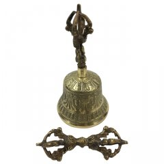 Tibetan Hand Bell with Dorje - 130 mm Traditional Tibetan Hand Bell with Dorje  130 mm Tall68 mm Diameter Made in NepalThese Tibetan Bells are made according to the traditional methods from bronze bell metal and produce a clear and lovely sound Bells can be. Please Click the image for more information.