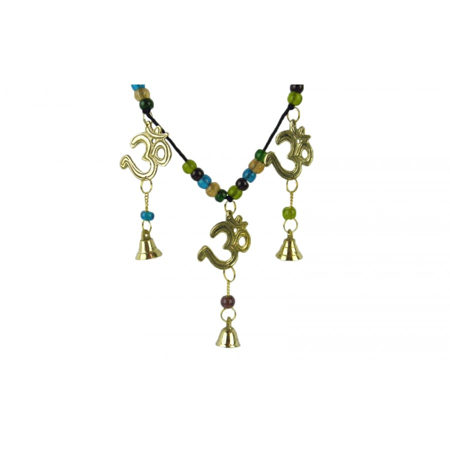Wind chimehanging toran brass om symbols bells glass beads feng additional product image additional product image additional product image buycottarizona Choice Image