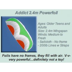 Windspeed Addict 2.4m Powerfoil Kite Ages Older Teens and AdultsSize 24m WingspanWinds Medium to Fresh Sailcloth  No frame 200lb Lines w Straps Please Click the image for more information.