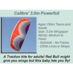 Windspeed Calibre' 3.0m Powerfoil Ages Older Teens and AdultsSize 30m WingspanWinds Medium to Fresh Sailcloth  No Frame 250lb Lines w Straps Please Click the image for more information.