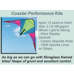 Windspeed Coaster Performance Stunt Kite Ages 12 years to AdultSize 21m WingspanWinds Light to Strong 34oz Ripstop Sailcloth  Carbon Graphite Rods 150lb Spectra Lines on Straps Please Click the image for more information.