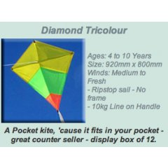 Windspeed Diamond Tricolour Pocket Kite Ages 4 to 10 YearsSize 920mm x 800mmWinds Medium to Fresh Ripstop sail  No frame 10kg Line on Handle Please Click the image for more information.