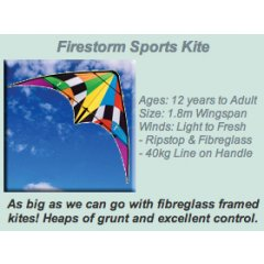 Windspeed Firestorm Sports Kite Ages 12 years to AdultSize 183m WingspanWinds Light to Fresh Ripstop  Fibreglass 40kg Line on Handle Please Click the image for more information.