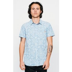 Afends Barfly Shirt S/S 100 Cotton chambraySlim fitting body and short sleeve with scallaped hem and high collar stand Custom Afends bandana paisley print by Josh Gallately Con. Please Click the image for more information.