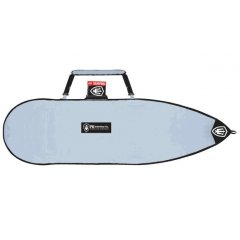 FK 6'-6'7 Surfboard Travel Cover Features  Shortboard Covers  Made from UV reflective tarpee  Water proof Protective nose piece on both sides Shoulder strap and handle  Non corrosive nylon zips  Colour Silver  Please Click the image for more information.