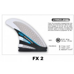 SCARFINI FX2 Thruster Set Features  Surf Fins  Optimum weigh range for surfers from 60kg to 80kg  Handmade honeycomb fiberglass  Shark skin coating  Carbon fibre base  Colour GreySize Info Front Fin  Base 111mm 437  Height 115mm 453  Centre Fin  as above A. Please Click the image for more information.