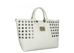 Hand Bag with Shoulder Strap White Quality PU Bag with removable bag inside outer bag Inside bag has side zip and two pockets Please Click the image for more information.
