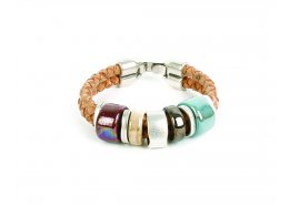CORK LEATHER JEWELLERY CERAMIC BRACELET WITH BLUE STONE AND METAL CORK LEATHER JEWELLERY CERAMIC BRACELET WITH BLUE STONE AND METALTamanho 12  Size 12 Please Click the image for more information.