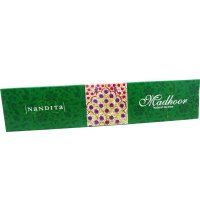 Nandita Madhoor Incense 25gms (B/12) Nandita Madhoor Incense is a sweet mixture of resins and oils to create a fresh ambience Nandita wholesale incense sticks come 12 packs of 25gms in a self display box . Please Click the image for more information.