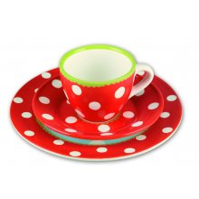 S10139 Coffee/Tea Set Red Colourful Spots  Stoneware place setting cup saucer plate in redHand painted dishwasher safeIn gift boxCup ca 7cm  ca 9c. Please Click the image for more information.