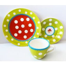 S10141 Coffee/Tea Set Green Colourful Spots  Stoneware place setting cup saucer plate in greenHand painted dishwasher safeIn gift boxCup ca 7cm  ca 9c. Please Click the image for more information.