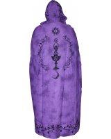 Purple Goddess Cotton Cape - $100.00 This lightweight purple cape features a Moon Goddess in black on the back and a beautiful black leaf and vine border on the hood and front. Please Click the image for more information.