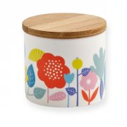 Mini Labo Porcelain Canister Flower Retrochic influence decor flowers porcelain canister with bamboo cover designed in France by Mini Labo. Please Click the image for more information.