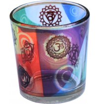 Chakra Printed Glass Votive This glass chakra printed votive holder brings balance to any room with the chakra energy colours projected onto the surrounding. Please Click the image for more information.