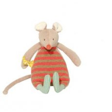 Moulin Roty Bigoudi mouse rattle Soft baby rattle from Moulin Rotys Biscotte et Pompom nursery range  Biscotte the mouse measures about 21cm in height has a velvety body jersey cotton tummy and plenty of tiny details for little hands to find and play withSafe f. Please Click the image for more information.
