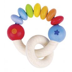 heimess rainbow rattle Half of the Rainbow Rattle is solid beech wood with a moving ring and the other half is brightly waterpainted beads assembled with elastic for movement and stimulation. Please Click the image for more information.
