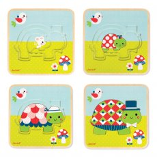 janod 3 layer turtle puzzle The 3 Layer Puzzle Turtle is a jigsaw puzzle with a difference Based on a layering concept this 9 piece puzzle is put together by forming 3 different turtles one on top of the other getting larger as you go Bri. Please Click the image for more information.