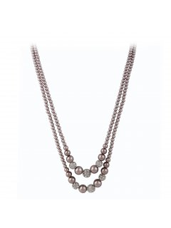 10758A MOCHA DOUBLE PEARL  DIAMONTE NECKLACE Please Click the image for more information.