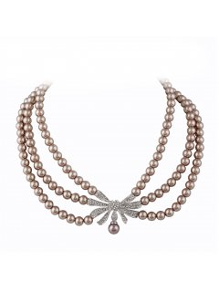 10760A MOCHA PEARL CHOKER WITH DIAMONTE DROP Please Click the image for more information.