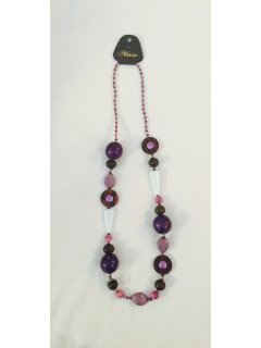 10789 PURPLE  WHITE BEADED NECKLACE Please Click the image for more information.