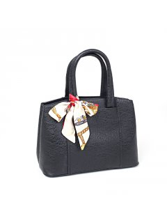 H0697 BLACK LADIES FASHION HANDBAG WITH SCARF Please Click the image for more information.