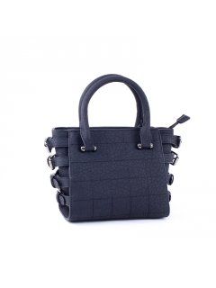 H0707 BLACK MIDSIZE LADIES HANDBAG WITH SIDE BELT BUCKLE FEATURE Please Click the image for more information.