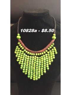 10828a GREEN WOODEN DROP NECKLACE Please Click the image for more information.