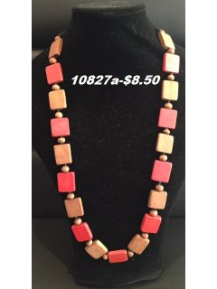 10827A RED  BROWN WOODEN NECKLACE Please Click the image for more information.