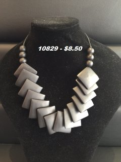 10829 BLACK WOODEN SQUARE TAPERED NECKLACE Please Click the image for more information.