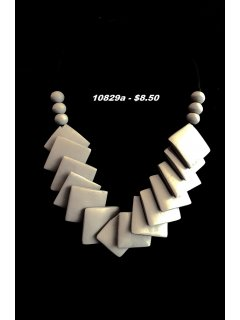 10829A GREY WOODEN SQUARE TAPERED NECKLACE Please Click the image for more information.