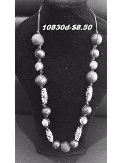 10830D BLACK WOODEN BEADED NECKLACE Please Click the image for more information.
