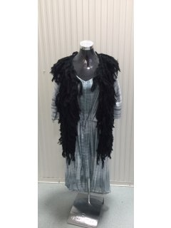 P117 BLACK WOOLEN SLEEVELESS JACKET  60CM LONG Please Click the image for more information.