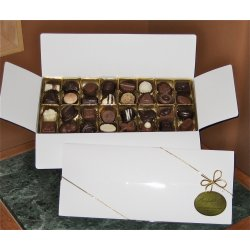 White gift box - 32 chocolates $59.00 Contains 32 chocolates of your choice see The Menu or a ready made assortment Please indicate your choice in the CARD MESSAGE box which is situated at Step 2 of the order process Eac. Please Click the image for more information.