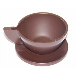 Solid milk choc. Cup & saucer containing 5 chocolates THIS PRODUCT IS FOR INSTORE PICK UP ONLY  NO DELIVERY IS OFFERED FOR THIS PRODUCT DUE TO BREAKAGE RISKA solid milk chocolate cup on a solid milk chocolate saucer containing a selection of 5 chocolates  Wrapped. Please Click the image for more information.