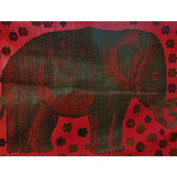 Elephant Wall Hanging Hand loomed silk and cotton wall hanging in red with  fine supplementary weft designs depicting elephants. Please Click the image for more information.